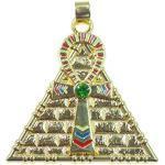 Anhänger, Ankh Pyramide, Symbol des Lebens und Amulett gegen Unglück und Talisman für Glück, 18 Karat vergoldet, 4 cm lang,Versand innerhalb 24 Stunden