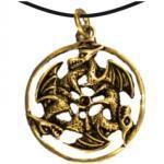 Anhänger - drei Drachen im Ring gold