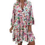 Bunte Hippie Midi V-Ausschnitt Damenkleider Asymmetrisch mit Knopf mit Spaghettiträgern zum Abschlussball Übergrößen