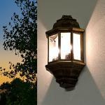 """Antike Außenleuchte rustikal in gold""""Livorno"""" Schiffsleuchte 2x E27 je 60W IP44 Wandlampe Schiffslampe für Außen Hof Garten"""