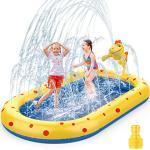 AOLUXLM Planschbecken für Kinder Baby Hunde Aufblasbarer Pool Sprinkler Splash kinderplanschbecken Wasserspielzeug Garten Outdoor draußen Kinderpool 170x105x 68CM