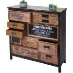 Apotheker-Schrank HWC-A43, Kommode, Tanne Holz massiv Vintage Shabby-Look 90x90x32cm