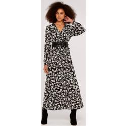 Apricot Druckkleid »Floral Print Wrap Maxi Dress« (1-tlg) mit Smokdetails, schwarz, schwarz