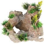 Aqua Della Aquariumdekoration Kalksandstein mit Pflanzen