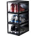 Arkmiido Schuhbox, 3er Set, stapelbarer Schuhorganizer, Kunststoffbox mit durchsichtiger Tür, Mehrweg Schuhaufbewahrung, 38×26×20cm, für Schuhe bis Größe 48
