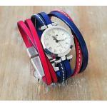 Armband Leder Blau Und Rot