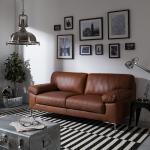 ars manufacti Sofa Parlin 2,5-Sitzer Mokka Echtleder 185x82x95 cm (BxHxT) Industrial