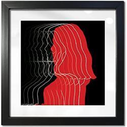 Artepoint Holz - Rahmen für Bilder quadratisch 15x15 20x20 25x25 30x30 40x40 50x50 mit weißem Passepartout Rahmen zum Aufhängen Farbe Schwarz - Format 20x20