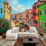 Artgeist Vliestapete Colorful Canal in Burano Premium Vlies Mehrfarbig Rechteckig 200x140 cm (BxH)