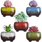 ARTKETTY Moderne Sukkulente Pflanzgefäße Töpfe - 12 cm Keramik Sukkulenten Übertöpfe Töpfe Mini Glasiert Blumentopf Mit Drainageloch Perfekt Für Schreibtisch oder Windowsill (5 In Set)
