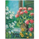 Artland Wandbild Blumen auf deinem Fenster, Blumen, (1 St.), in vielen Größen & Produktarten -Leinwandbild, Poster, Wandaufkleber / Wandtattoo auch für Badezimmer geeignet grün Kunstdrucke Bilder Bilderrahmen Wohnaccessoires
