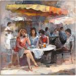 Artland Wandbild »Damen im Café II«, Gruppen & Familien (1 Stück), in vielen Größen & Produktarten -Leinwandbild, Poster, Wandaufkleber / Wandtattoo auch für Badezimmer geeignet