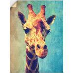 Artland Wandbild Die Giraffe, Wildtiere, (1 St.), in vielen Größen & Produktarten -Leinwandbild, Poster, Wandaufkleber / Wandtattoo auch für Badezimmer geeignet grün Kunstdrucke Bilder Bilderrahmen Wohnaccessoires