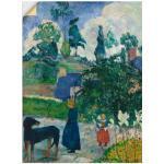 Grüne Moderne Artland Paul Gauguin Kunstdrucke mit Hundemotiv