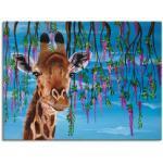 Blaue Moderne Artland Giraffen Bilder mit Tiermotiv strukturiert