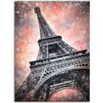 Artland Wandbild Modern Art Eiffelturm, Gebäude, (1 St.), in vielen Größen & Produktarten - Alubild / Outdoorbild für den Außenbereich, Leinwandbild, Poster, Wandaufkleber Wandtattoo auch Badezimmer geeignet rot Kunstdrucke Bilder Bilderrahmen Wohnaccessoires