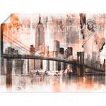 Orange Moderne Artland New York Bilder mit Skyline-Motiv