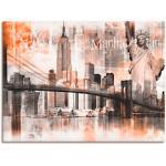 Artland Wandbild New York Skyline Collage V, Amerika, (1 St.), in vielen Größen & Produktarten -Leinwandbild, Poster, Wandaufkleber / Wandtattoo auch für Badezimmer geeignet orange Kunstdrucke Bilder Bilderrahmen Wohnaccessoires