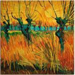 Artland Wandbild »Weiden bei Sonnenuntergang. 1888«, Wiesen & Bäume (1 Stück), in vielen Größen & Produktarten -Leinwandbild, Poster, Wandaufkleber / Wandtattoo auch für Badezimmer geeignet