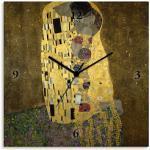 Artland Wanduhr Der Kuß, lautlos, ohne Tickgeräusche, nicht tickend, geräuschlos - wählbar: Funkuhr o. Quarzuhr, moderne Uhr für Wohnzimmer, Küche etc. Stil: modern gelb Wanduhren Uhren Wohnaccessoires