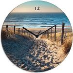 Artland Wanduhr ohne Tickgeräusche Glas Quarzuhr Ø 30 cm Rund Lautlos Strand Meer Düne Nordsee Urlaub Natur Maritim T9IP