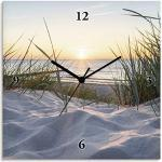 Sandfarbene Maritime Artland Ostsee Bilderuhren mit Sonnenaufgang-Motiv