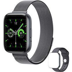 ASPIRER Smart Watch,Smartwatch1.55-Zoll Sportuhr-Fitness-Tracker Anrufe tätigen mit IPS-Touchscreen Herzfrequenz und Schlaftracking ,Musik Wiedergabe&Bluetooth Telefonie, wasserdicht AndroidIOS(Black)