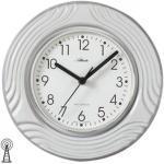 Atlanta 6021 Küchenuhr Wanduhr Küche Funk Funkwanduhr analog Keramik grau weiß
