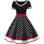 Audrey Hepburn Tupfen Retro Vintage 50er Urlaubskleid Sommer Kleid Ballkleid Damen Kostüm Schwarz / Rrot / Rosa / Rot Jahrgang Cosplay Kurzarm Knie-Länge Lightinthebox