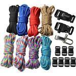 aufodara 18er DIY Paracord Set Handgemachte Webart Survival Outdoor Armband Schlüsselanhänger Anhänger (Style A)