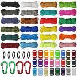 aufodara 24er 10 Fuß paracord schnüre 7 Strängen Nylon Seil, 24 Farben Paracord Armband Set für DIY Armbänder, Schlüsselanhänger, Survival Camping Zeltseil, Hundehalsband, Handgemachte Webart (Stil B)