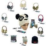 Schwarze Ohrenschützer & Ohrenwärmer mit Eulenmotiv mit Bommeln für Herren