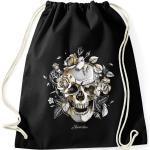 Autiga Turnbeutel »Turnbeutel Totenkopf Rosen Skull Roses Schädel Hipster Beutel Tasche Gymsac ®«, schwarz, schwarz