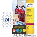 Avery Zweckform Etiketten A4 Prüfplakette , abziehsicher weiß Ø30mm 240Et.