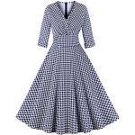 Blaue Langärmelige Rockabilly Midi V-Ausschnitt Rockabilly-Kleider & 50er Jahre Kleider mit Reißverschluss für Damen