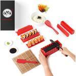 AYA Sushi Maker Kit Sushi Maker Rot Komplett mit Sushi Messer und Exklusiv Video Tutorials 11 Stück DIY Sushi Set - Einfach und Spaß für Anfänger - Sushi Rollen Maker- Maki Roll – Sushi Roller