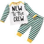 Baby Jungen Herbst Kleidung New to The Crew Langarm Tops Gestreifte Hose 2Pcs Herbst Schlafanzug Set