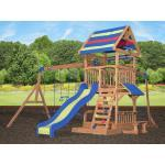 Backyard Discovery Spielturm Northbrook inkl. Doppelschaukel + Rutsche blau/gelb
