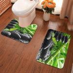 Badematten-Set, 2-teilig, rutschfeste WC-Vorleger und Badematte für Badezimmerboden (grüner Bambus und schwarze Steine)