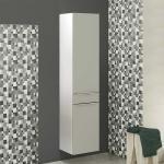 Badezimmer Hochschrank in Grau und Weiß 180 cm hoch