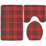 Badezimmerteppich-Set, Schottenkaro, traditionelles Schottenkaro, 3-teiliges Set, Konturteppich und Deckelbezug, Rot und Schwarz