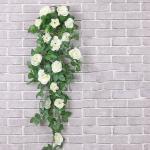 Baesset Kunstblume »Künstliche Rosen Rattan 90cm Kunstblumen Blumenstrauß Seidenblumen Girlande Hochzeit Garten Deko«, Weiß