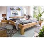 Balkenbett aus Wildeiche Massivholz rustikal (3-teilig)