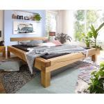 Balkenbett aus Wildeiche Massivholz rustikalen Landhausstil