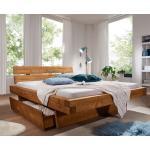 Balkenbett mit Bettkästen 'Melissa' 200x200cm Fichte gebeizt