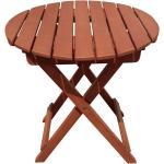 Balkon Garten Tisch rund klappbar Bistro Terrassen Außen Möbel Eukalyptus Holz geölt braun Harms 958196