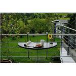 Balkon-Hängetisch halbrund 100 cm x 50 cm anthrazit