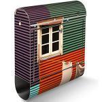 banjado® Briefkasten Edelstahl mit Motiv Buntes Haus 39x47x14cm & 2 Schlüssel - rostfreier Edelstahl Briefkasten mit Zeitungsfach - Postkasten A4 Einwurf inkl. Montagematerial