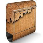 banjado® Briefkasten Edelstahl mit Motiv Holz 38x43,5x12,5cm & 2 Schlüssel - rostfreier Edelstahl Briefkasten mit Zeitungsfach - Postkasten A4 Einwurf inkl. Montagematerial