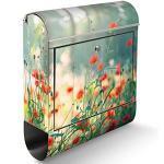 banjado® Briefkasten Edelstahl mit Motiv Waldmohn 39x47x14cm & 2 Schlüssel - rostfreier Edelstahl Briefkasten mit Zeitungsfach - Postkasten A4 Einwurf inkl. Montagematerial